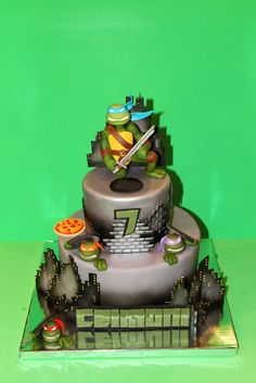 Teenage Mutant Ninja turtle cake - ♥♥ *TMNT Cake. Cake is completely edible and hand sculpted. Perfect for this 7 year old boy!