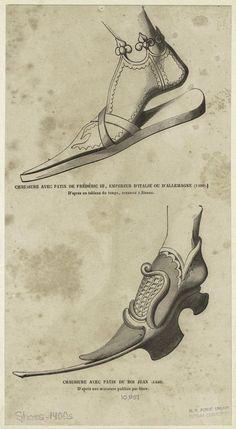 Мужская обувь- 1400-е г.Chaussure avec patin de Frédéric III, du Roi Jean (1440).