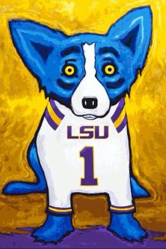 Artist George Rodrigue Creates LSU-Clad Blue Dog Print to Raise Funds for New to Benefit Arts and Education in Louisiana Blue Dog Painting, Blue Dog Art, Lsu Tigers Football, Football Stuff, College Football, Football Fever, Louisiana Art, Louisiana Swamp, Dog Artwork