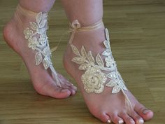 Champagne, french lace sandals, Beach wedding barefoot sandals, embroidered sandals.bridal accesories,bridal lace anklet,beach shoes