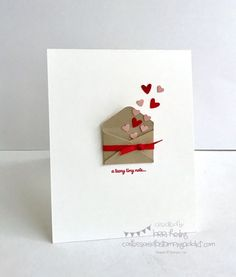 Simple Little Valentine (Confessions of a Stamping Addict) - want to do. - Simple Little Valentine (Confessions of a Stamping Addict) Simple Little Valentine Valentine Crafts, Valentine Day Cards, Homemade Valentines Day Cards, Ideas For Valentines Day, Homemade Anniversary Cards, Printable Valentine, Diagrammes Origami, Handmade Birthday Cards, Diy Birthday