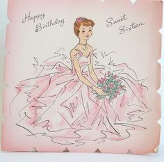 Vintage Birthday Card  Pink Sweet Sixteen  Greeting by midwickhill, $3.00