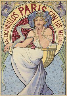 Los Cigarrillos Paris : Maquette. 1897. Alphonse Mucha
