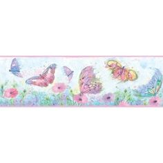 Brewster HAS01002B Ava Pink Butterfly Swoosh Border Wallpaper