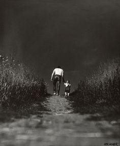 Boy and Man on Path, Jan Saudek