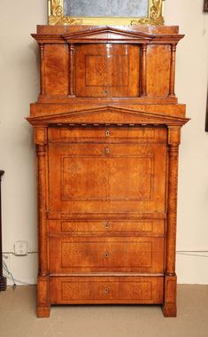 View this item and discover similar for sale at - Northern European, Biedermeier, Birch Secretaire Abattant Classic Furniture, Antique Furniture, Antique Collectors, Home Board, Home Furnishings, Woodworking Projects, Art Deco, Bookcases, Antiques