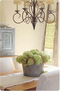 Galvanized Bucket with Hydrangeas.