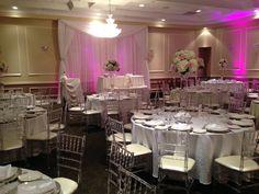 Wedding-reception setting at http://www.mitzuyankoshercatering.com/uncategorized/kosher-cuisine-aimee-dyan-wedding/ #koshercatering #koshercaterer #weddings