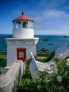 Trinidad Memorial Lighthouse, Trinidad, Humboldt, California was built in 1949 by the Trinidad Civic Club as a memorial to those lost or buried at sea.  by Jim DeLillo