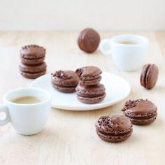Dark Chocolate Ganache Macarons