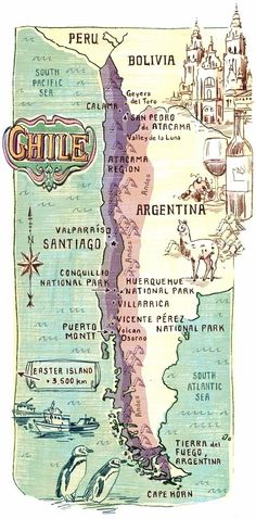 Map of Chile. This country is very indigenous and has many rare animals. The geography of Argentina ranges from a mountainous landscape to jungles. The current population is Some major cities of Argentina is Bariloche, Mar del Plata, Mendoza, and Cordoba. Columbia South America, South America Travel, Vintage Maps, Vintage Travel, Travel Maps, Travel Posters, Map Globe, Argentine, Old Maps