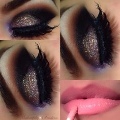 Sparkle smoky eye makeup with a gorgeous pink lip=stunning!
