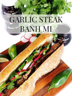 Msg 4 21+. Looking for an easy summer to-go date night recipe? This Garlic Steak Banh Mi is the perfect picnic recipe that is elegant yet easy to eat on the go. Paired with Mark West Pinot Noir single served glasses. #AD #ShareWine // www.ElleTalk.com #lunch #dinner #recipe #recipeoftheday