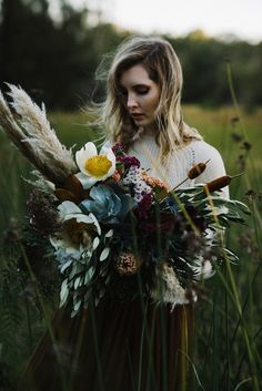 wild oversize bouquet with pampas grass and bullrushes