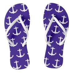 Need a pair of flip flops for your beach vacation? This pair features a white anchor pattern. Nautical Flip Flops, Nautical Anchor, Anchor Pattern, Flip Flop Sandals, Pairs, Throw Pillows, Vacation, Beach