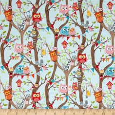 Riley Blake Tree Party Main Blue from @fabricdotcom  Designed by Kelly Panacci for Riley Blake, this cotton print is perfect for quilting, apparel and home decor accents. Look closely and you can find an owl, squirrel, mouse, bird nest, swing and a birdhouse. Colors include shades of brown, hot pink, orange, pink, blue, grey, green and yellow.