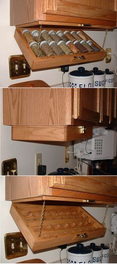 Under Cabinet Spice Under Cabinet Spice Rack: A Smart Solution For Your Kitchen Diy Kitchen Storage, Diy Storage, Kitchen Organization, Storage Ideas, Spice Storage, Under Cabinet Storage, Storage Design, Spice Rack Organization, Pantry Storage