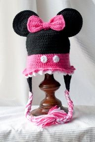 Minnie Mouse Custom crocheted hat by HappyBubblesCouture on Etsy, $25.00... so cute and my niece would love this!