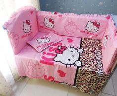 Promotion! 6PCS Hello Kitty 100% Cotton Baby Bedding Sets Children Crib Bedding Set  ,include:(bumper+sheet+pillow cover)
