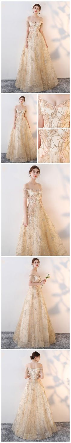 A-LINE OFF-THE-SHOULDER TULLE BEADING CHIC LONG PROM DRESS EVENING DRESS AM635 #amyprom  #fashion #party #evening #chic #promdress #promdresslong #longpromdress #eveningdress #champagne
