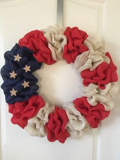 Patriotic Decorations: How to Make a Burlap Wreath. Bring a touch of Americana to your front door with these easy burlap summer wreaths ideas. Thanks Etsy owner for letting us share. wreaths patriotic crafts - Diy Crafts for The Home Burlap Crafts, Wreath Crafts, Diy Wreath, Diy Crafts, Wreath Ideas, Burlap Wreaths, Mesh Wreaths, Front Door Wreaths, Spring Wreaths For Front Door Diy