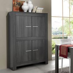 buffet haut couleur ch ne gris et laqu gris fonc fabio buffet haut moderne design. Black Bedroom Furniture Sets. Home Design Ideas