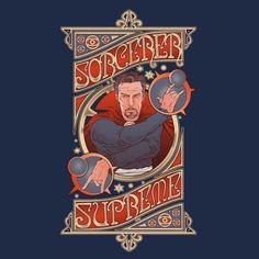 Doctor Strange T-Shirt by Rubén García Alcaraz aka Skullpy. Sorcerer Supreme is a t-shirt for fans of the supreme sorcerer Doctor Strange. Marvel Comic Books, Marvel Art, Marvel Comics, Movie T Shirts, Cool T Shirts, Supreme T Shirt, Weird World, Doctor Strange, Nerdy