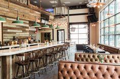 Here's a sneak peak at Hampton & Hudson's menu, opening Wednesday in Inman Park - Atlanta Magazine Restaurant Seating, Park Restaurant, Bar Seating, Atlanta Bars, New Atlanta, Atlanta Georgia, Atlanta Restaurants, Unique Restaurants, Inman Park
