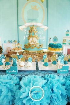 Royal Prince 1st Birthday Party with Lots of Super Cute Ideas via Kara's Party Ideas