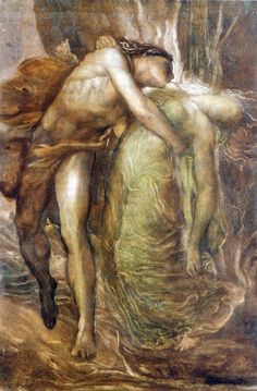 """Desperately he tried to rush after her and follow her down, but he was not allowed. The gods would not consent to his entering the underworld a second time, while he was still alive. Forced to return to the earth alone, he was utterly desolate.""""  """"Orpheus and Eurydice,"""" as told by Apollonius of Rhodes (3rd century BCE). Painted by George Frederick Watts, about 1865"""