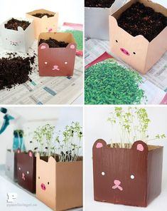 Milk carton planters by Pysselbolaget - what a fun DIY idea for kids! Kids Crafts, Diy And Crafts, Arts And Crafts, Paper Crafts, Diy Projects To Try, Craft Projects, Milk Carton Crafts, Milk Box, Planter Boxes