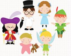 WHAT YOU ARE PURCHASING:  You will receive SIX adorable clip arts (in separate images) featuring characters from Peter Pan: Peter Pan, Tinker Bell,