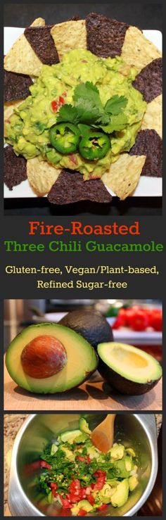 Nutritionicity | Recipe: Fire-Roasted Three Chili Guacamole This spicy and delicious snack can be made in 15 minutes and is a flash flood of nutrition. Recipe at www.nutritionicit...