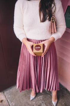 OUTFIT:   Pink Pleated MAXI Skirt + Sweater, Shirt, or Blouse. (Perfect for Date Night!)