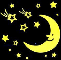 Hold csillagokkal, éjjel világító polifoam falmatrica