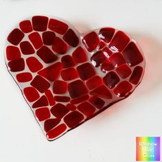 Red Heart Dish Fused Glass can be used for food, jewellery or candles/tealights.