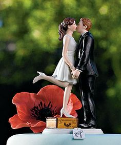 """""""A Kiss and We're Off!"""" cake topper, shows them on the journey to their new life together. So adorable!"""