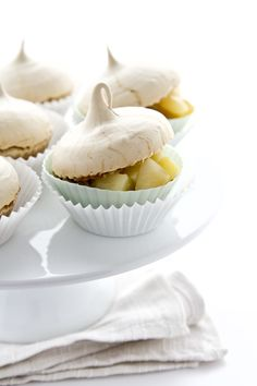 coffee meringue cupcakes spiced poached pears