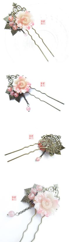 Luna antiquity hand made - denounced dyed hair hairpin retro classic Chinese… Goth Accessories, Bridal Accessories, Kanzashi Flowers, Beaded Flowers, Traditional Fashion, Traditional Chinese, Gothic Jewelry, Beaded Jewelry, Jewellery