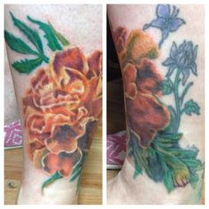 My marigold tattoo. Part of my coverup of old tattoo. You can still see the purple thistle and Butterfly.