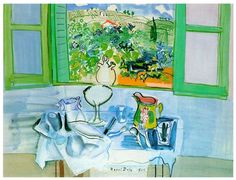 Raoul Dufy was a French Fauvist painter. He developed a colorful, decorative style that became fashionable for designs of ceramics and textiles, as well as decorative schemes for public buildings. He is noted for scenes of open-air social events.