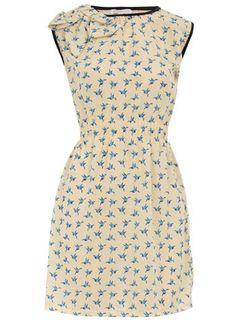 Dorothy Perkins  Cream bird bow shoulder dress