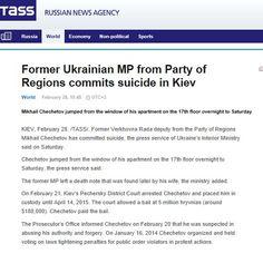 Former Ukrainian MP from Party of Regions commits suicide in Kiev 28 feb 2015 http://tass.ru/en/world/780190