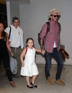 Harper Beckham Photos Photos - David Beckham and his children departing on a flight at LAX airport in Los Angeles, California on April 17, 2017. - David Beckham Spotted At LAX
