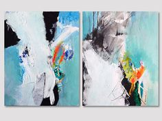 2 Teile original abstrakte Malerei auf Papier von ARTbyKirsten