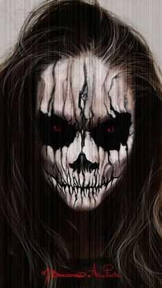 Scary Halloween Face Paint Halloween make ups are an amazing solution for Halloween. You can make incredible mask just with makeup. You can use a different colors of make up and make wonderful Halloween art on your face. Demon Halloween Makeup, Halloween Face Paint Scary, Amazing Halloween Makeup, Scary Makeup, Halloween Skull, Makeup Art, Makeup Ideas, Halloween 2015, Skull Makeup