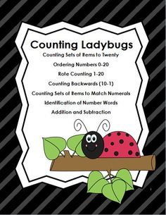 This product uses cute ladybug graphics to teach the following Early Math Learning Skills:   *Counting Sets of Items to Twenty   *Ordering Numbers 0-20   *Rote Counting 1-20   *Counting Backwards (10-1)   *Counting Sets of Items to Match Numerals   *Identification of Number Words   *Addition and Subtraction