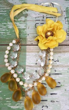 For bridesmaids-   Sunshine Droplets Statement Necklace by PettiBear on Etsy, $58.00