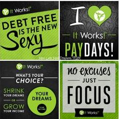 Become an It Works Distributor and change your life for the better. More freedom, more fun, more finances. Call or text 520-840-8770 http://bodycontouringwrapsonline.com/make-money-become-a-distributor