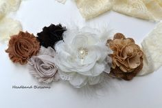 Rustic, Burlap, Neutral Chiffon Flower Maternity Sash Belt - Pregnancy Photo Prop - Gender Neutral Ivory - It's A Boy Girl Maternity Photo Props, Maternity Sash, Newborn Photos, Pregnancy Photos, Baby Corsage, Burlap Flowers, Baby Belly, Rustic Baby, Chiffon Flowers